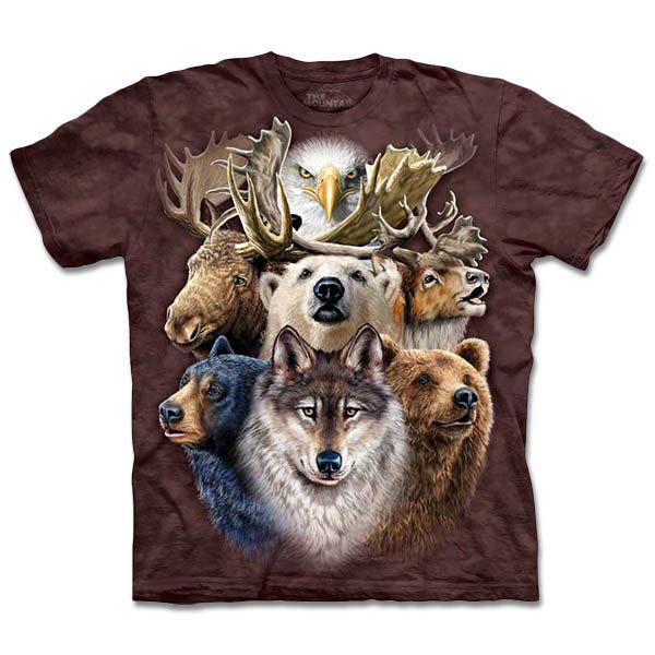 【摩達客】 (預購) 美國進口【The Mountain】自然純棉系列 北美動物拼貼 T恤(10413045131a)