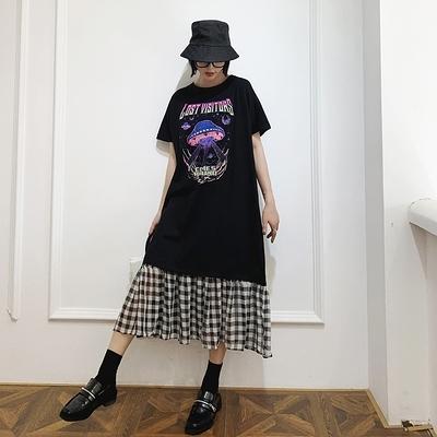 胖妹妹大碼洋裝連身裙~6249# 春夏款/長款寬松大碼拼接黑白格短袖連身裙DC109胖妹大碼女裝