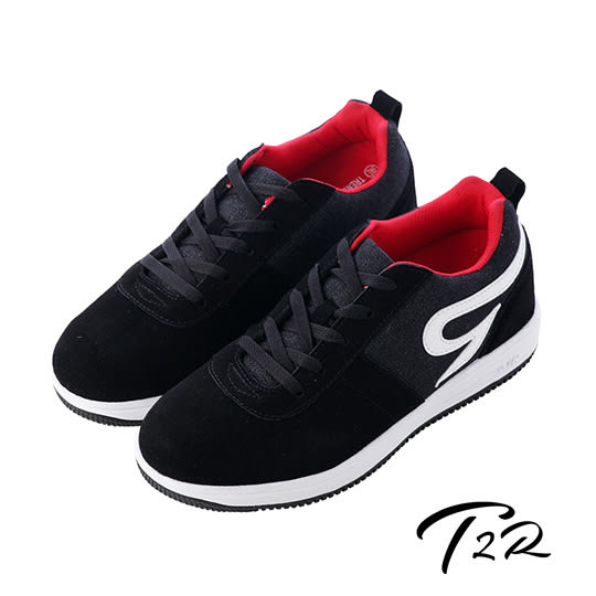【韓國T2R】時尚牛仔拼布男款內增高休閒鞋 ↑6cm 黑(5600-0218)
