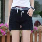 七分褲 鬆緊腰牛仔短褲女夏百搭顯瘦寬鬆破洞女士熱褲子加大尺碼夏季新款薄款