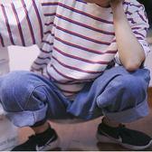 日繫小清新學院風撞色條紋海魂衫T恤正韓男女寬鬆短袖限時八九折
