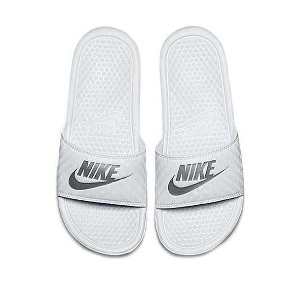 NIKE 女 拖鞋 黑白 白銀 菱格紋 343881102