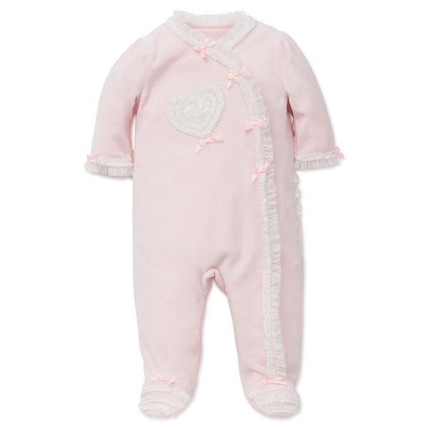 連身衣 Little Me 粉色白蕾絲愛心長袖連身衣 LCQ04986N