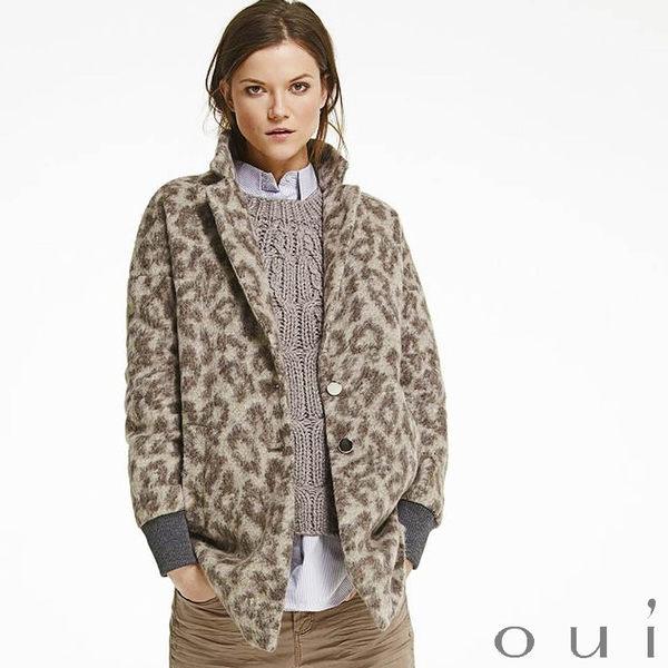 oui 德國品牌 豹紋西裝領毛料外套 ( 中大尺碼女裝)