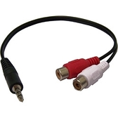i-wiz 3.5公轉2P母AV端子RCA訊號線25公分 AD-21