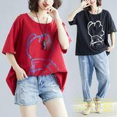 胖女人遮肚顯瘦短袖胖mm夏季大碼女裝寬鬆韓版印花棉麻t恤衫