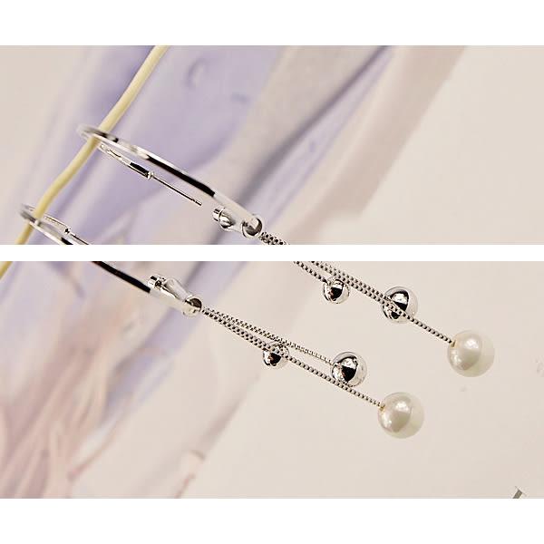 耳環 歐美個性圓圈流蘇金屬珍珠小球垂墜式耳環【1DDE0274】