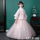 女童中國風古裝超仙過年漢服兒童唐裝拜年服女孩加厚長袖套裝秋冬 怦然新品