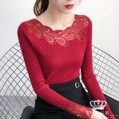 針織衫 鏤空上衣蕾絲拼接女百搭修身女長袖秋季薄毛衣