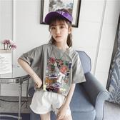 女童短袖T恤2020夏季新款韓版洋氣夏裝寬鬆兒童中大童純棉潮半袖