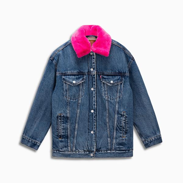 Levis 女款 牛仔外套 / Baggy 復古極寬鬆版型 / Sherpa棉花絨 / 粉紅可拆式毛領