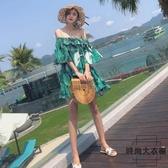 一字肩沙灘裙女海邊度假連身裙子仙【時尚大衣櫥】