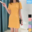 【V3070】shiny藍格子-輕意微甜.氣質純色圓領短袖連身裙