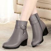 秋冬季短靴女中跟粗跟羊毛靴子中年女士加絨大碼棉靴真皮媽媽棉鞋 免運