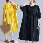 中大尺碼洋裝 加肥加大胖妹妹寬鬆大碼中長裙韓版減齡休閑百搭連身裙女夏季新款