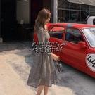 秋款新品韓版女裝長袖碎花雪紡中長款收腰方領洋裝 街頭布衣