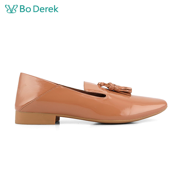 Bo Derek 流蘇漆皮樂福鞋-膚色
