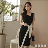 2020夏季新款女裝韓版修身無袖性感方領撞色拼接氣質ol包臀連身裙 KP230『美鞋公社』
