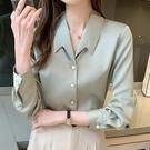 職業襯衫 緞面襯衫女氣質設計感小眾高級感職場輕熟風襯衣春款2021新時尚