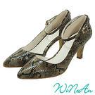 WINEAN薇妮安-鏤空時尚中跟鞋(琥珀蛇皮紋)-WNA18520