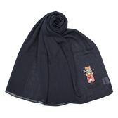 MOSCHINO 經典TOY小熊棉麻混絲薄圍巾(深藍色)911003-013