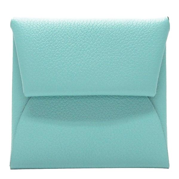 HERMES 愛馬仕 3p blue atoll 馬卡龍藍綠色牛皮零錢包 Bastia change purse
