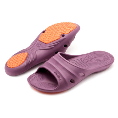 (e鞋院)KENROLL休閒抗油止滑拖 粉(買一雙就送一雙珊瑚絨暖冬保暖襪子(隨機出貨)
