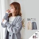 外套 純色四釦柔軟毛線V領寬版毛衣罩衫-...