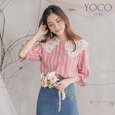 東京著衣【YOCO】YOCO-歐膩蕾絲雕花圓領拼接條紋喇叭袖雪紡上衣-S.M.L(190137)