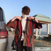 國潮中國風復古日系條紋七分袖道袍男女和服ins情侶百搭寬松外套