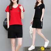 休閒套裝 套裝女夏2020新款韓版時尚短袖短褲兩件套寬鬆大碼運動服套裝