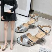 魚嘴高跟鞋 夏季新款涼鞋女細跟時尚亮片高跟鞋一字帶羅馬鞋 FR6155【每日三C】