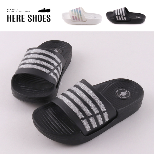 [Here Shoes](童鞋17-22)親子鞋 2cm拖鞋 PU防水防雨彩虹金蔥條紋 圓頭平底涼拖鞋 MIT台灣製-ABPOLO-V3