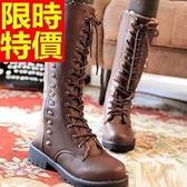 馬丁靴-系帶鉚釘真皮加厚保暖防滑高筒女靴子2色65d87【巴黎精品】