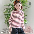 女童上衣 甜美字母紅條紋長袖內搭T恤 韓國外貿中大童 QB allshine