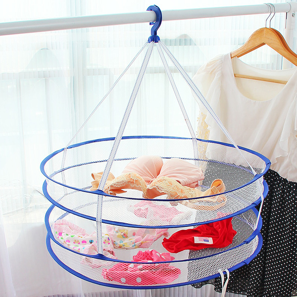 多功能雙層晾衣藍 折疊式收納籃 透氣網狀洗衣籃 玩具藍 置物網 收納網【Z023】米菈生活館