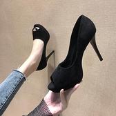 魚口鞋 春季高跟鞋10cm夜場防水臺細跟職業黑色絨面少女小碼魚嘴單鞋  曼慕