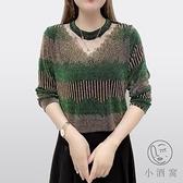 中年女大碼打底小衫秋季中老年女裝t恤媽媽裝上衣蕾絲領長袖【小酒窩服飾】
