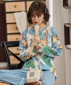 睡衣韓版睡衣女春秋季長袖純棉可愛家居服可外穿兩件套裝秋薄款新品