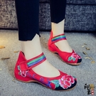 絢麗彩虹搭扣帶俏皮女單鞋民族風繡花鞋繡花鞋百搭休閒女鞋 萬聖節鉅惠
