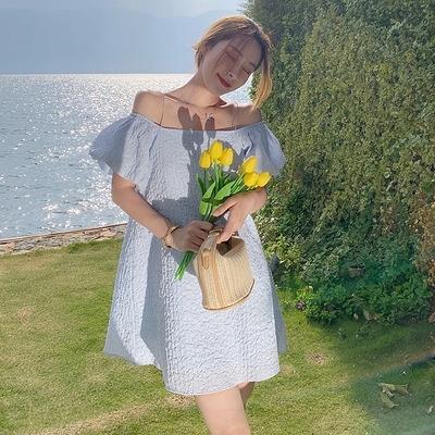 長洋裝 度假式洋裝夏裝泡泡袖黃色露肩一字肩吊帶裙連身裙女夏裙子沙灘裙N119快時尚