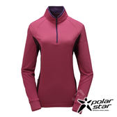 PolarStar 女 竹炭吸排長袖立領衫『桃紅』P17212 機能衣│刷毛衣排汗│透氣│輕量