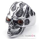 《 QBOX 》FASHION 飾品【R10024809】精緻龐克風火焰骷顱頭眼鋯石鑄造鈦鋼戒指/戒環