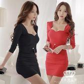 洋裝 秋季新款夜店性感低胸氣質顯瘦打底長袖連身裙冬