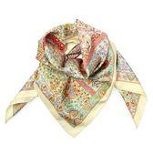 HERMES 花朵樹圖騰真絲方型披肩圍巾(淺黃色)179133
