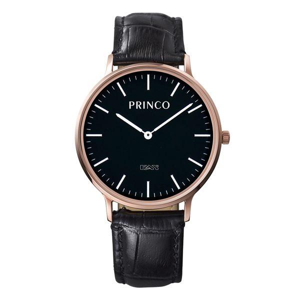 PRINCO 時尚經典一卡通速PAY石英錶-37mm黑底金邊(快拆皮革錶帶)(MD0201G)