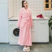 法蘭絨睡袍女士春秋冬加厚加長款珊瑚絨浴袍