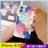 小熊塗鴉 iPhone 12 mini iPhone 12 11 pro Max 浮雕手機殼 潮牌卡通 保護鏡頭 全包蠶絲 四角加厚 防摔軟殼