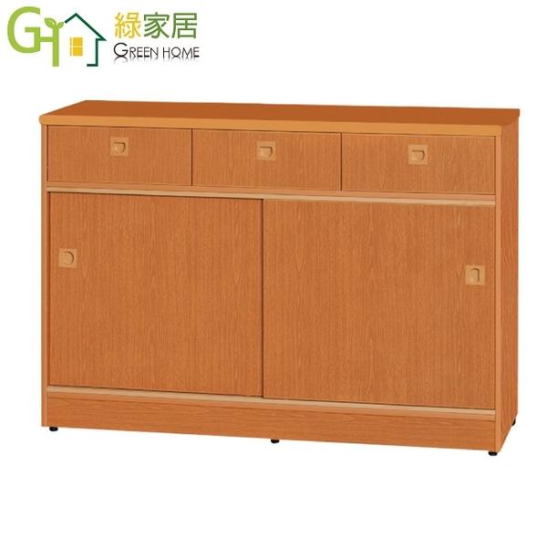 【綠家居】泰亞 環保4.1尺南亞塑鋼推門三抽中餐櫃/收納櫃