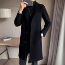 西裝 新款毛呢大衣男潮休閑韓版呢子外套修身加厚中長款風衣【聖誕禮物】